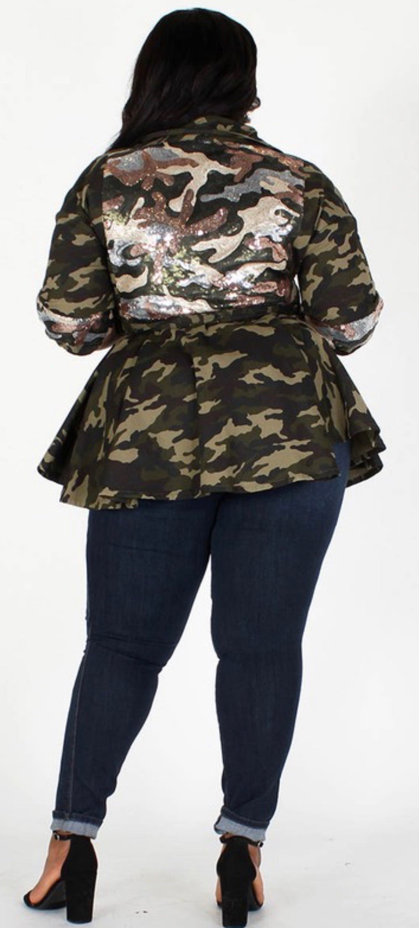 Camo Sequin Peplum Jacket