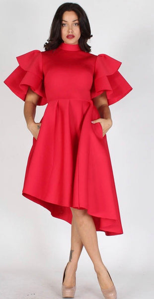 Ruffle sleeve high low dress