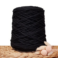 5mm Black - 3ply Recycled Cotton Macrame Cord