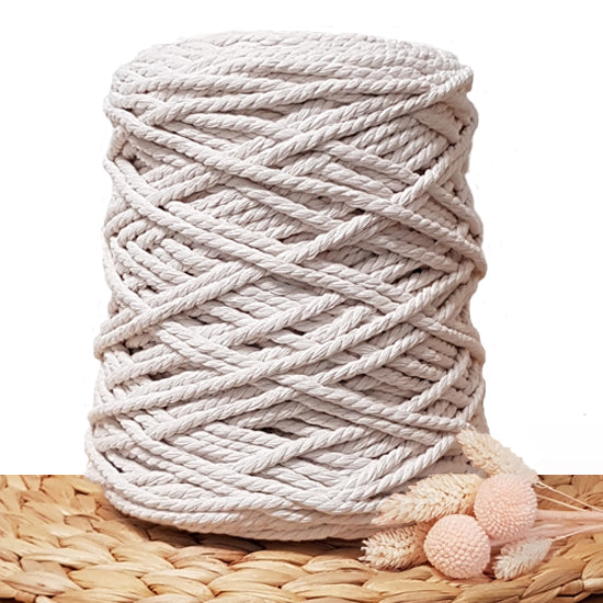 5mm Ivory - 3ply Recycled Cotton Macrame Cord