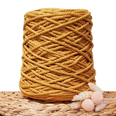 5mm Mustard - 3ply Recycled Cotton Macrame Cord