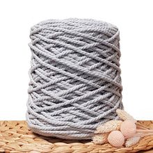 5mm Silver - 3ply Recycled Cotton Macrame Cord