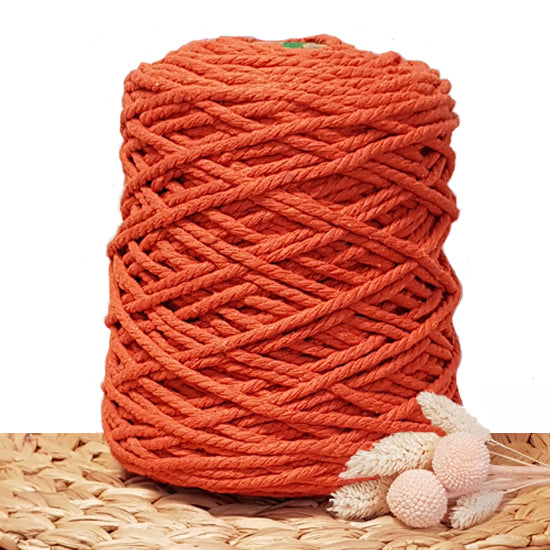 5mm Tangerine - 3ply Recycled Cotton Macrame Cord