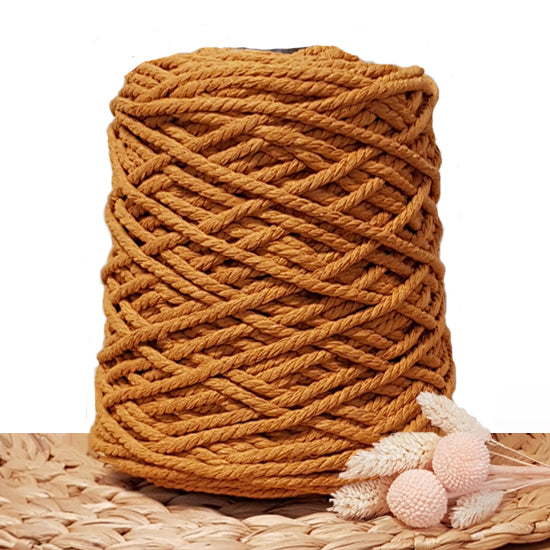 5mm Tumeric - 3ply Recycled Cotton Macrame Cord