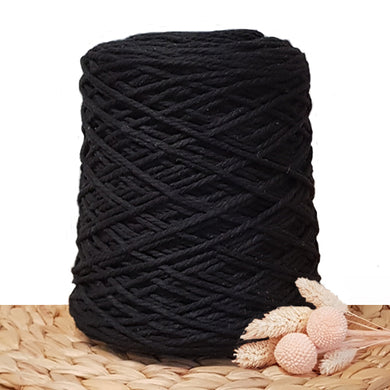 3mm Black - Recycled Cotton 3ply Macrame Cord