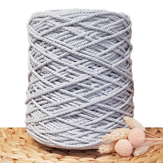3mm Silver - 3ply Recycled Cotton Macrame Cord