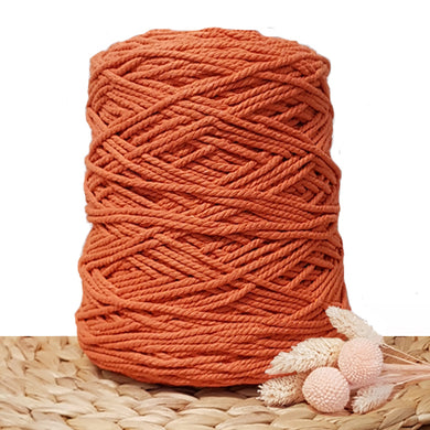 3mm Tangerine - Recycled Cotton 3ply Macrame Cord