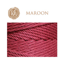 4.5mm 4-strand Cotton Macrame Rope - Maroon