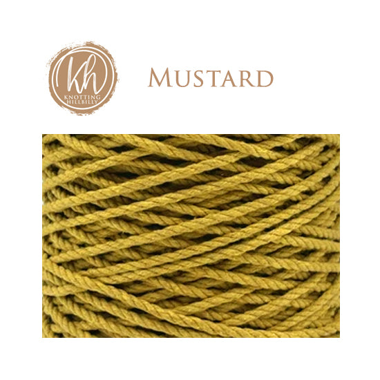 4mm 3 ply Cotton Macrame Rope - Mustard