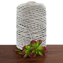 4mm Silver Metallic 3ply Twisted Rope