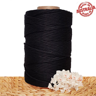 Black Single Twist Macrame Cotton Cord 1kg Made In Australia