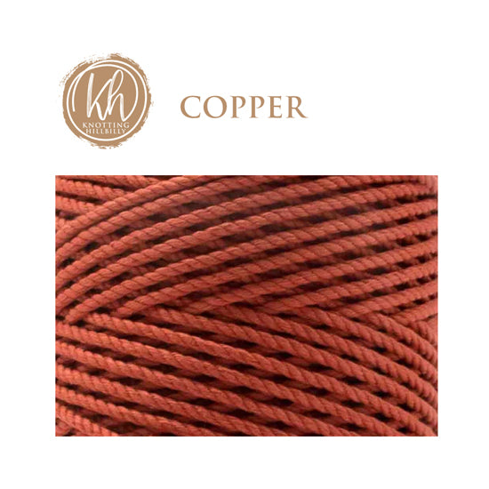 4mm 3 ply Recycled Cotton Macrame Rope - Copper