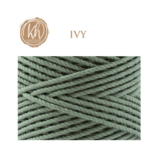 4mm 3 ply Recycled Cotton Macrame Rope - Ivy