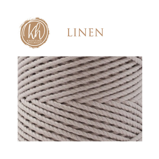 4mm 3 ply Recycled Cotton Macrame Rope - Linen