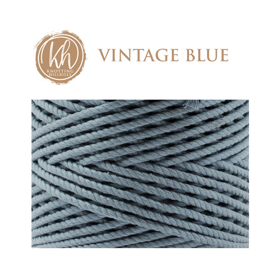 4mm 3 ply Recycled Cotton Macrame Rope - Vintage Blue