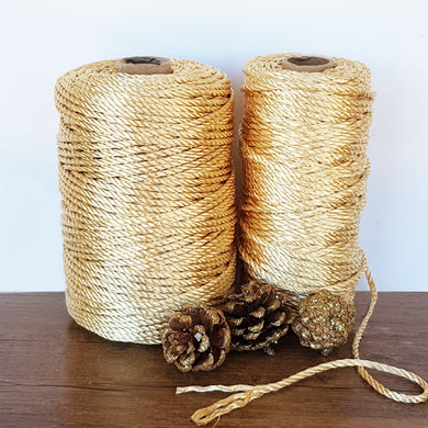 4mm Metallic Gold 3ply Nylon Rope