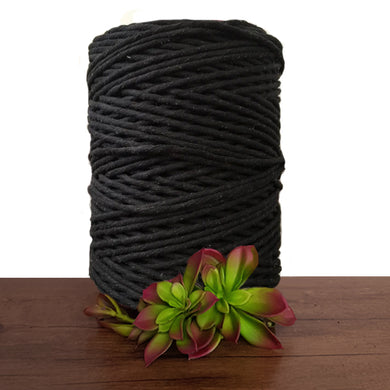 Jet Black Luxe Cotton Single Twist Macrame Cord 1kg