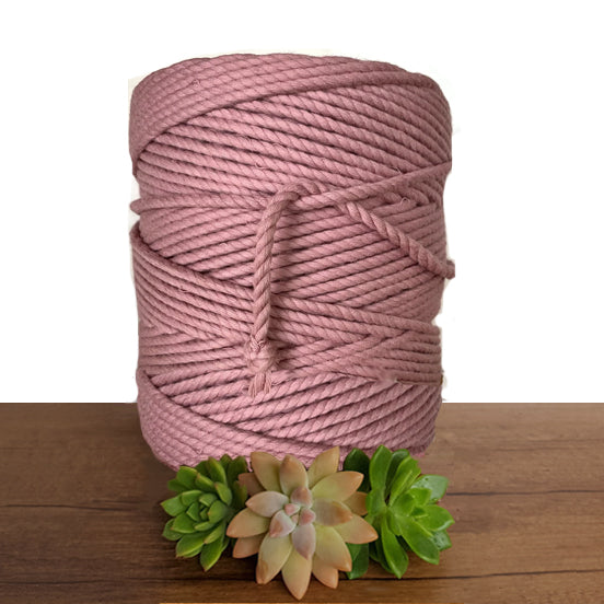 5mm De Luxe Cotton 3ply Rope - Rose