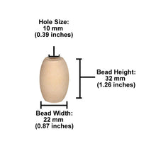Wooden Bead - Oval Raw 32 x 22 Pack of 6