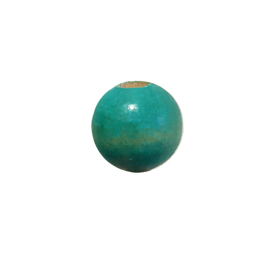 Wooden Macrame Bead - Round Turquoise 25mm