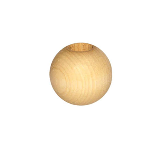 Wooden Bead - Round Natural 38mm Pack of 2