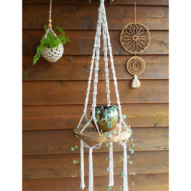 DIY Macrame Kit - Hanging Timber Shelf