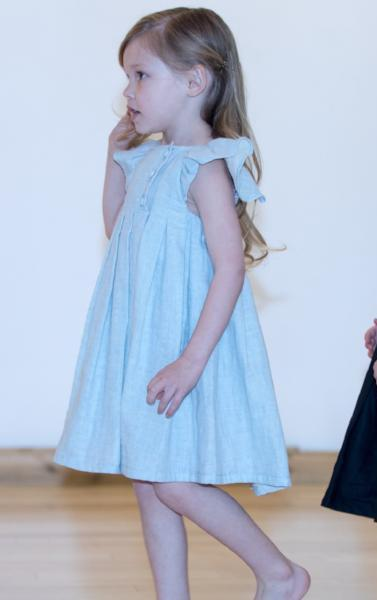 Blue Pleated Flutter Dress