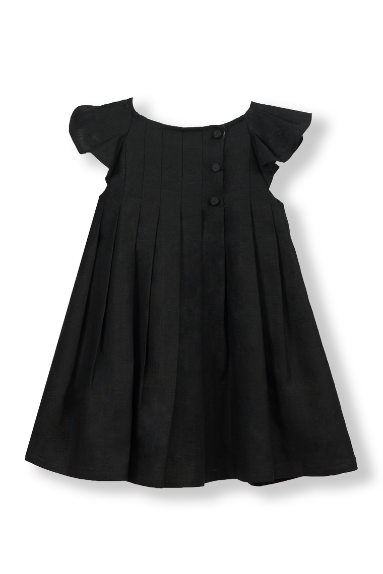 Black Pleated Flutter Dress