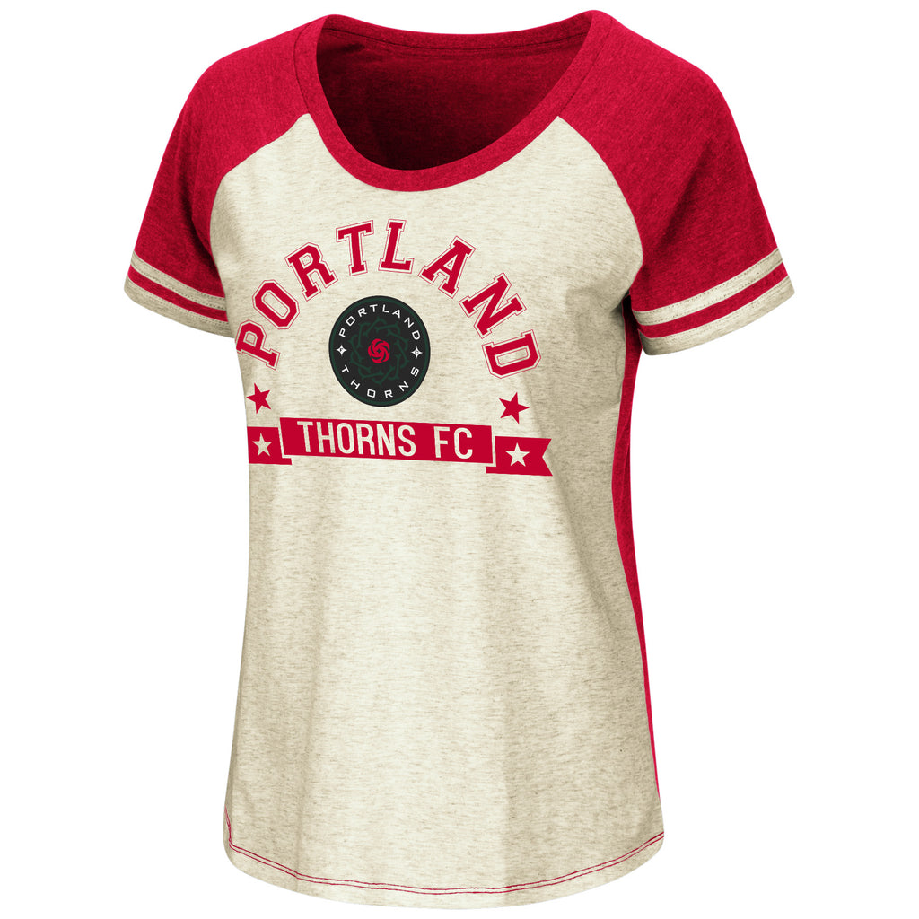 PORTLAND THORNS FC WOMEN'S OATMEAL SHORT SLEEVE RAGLAN