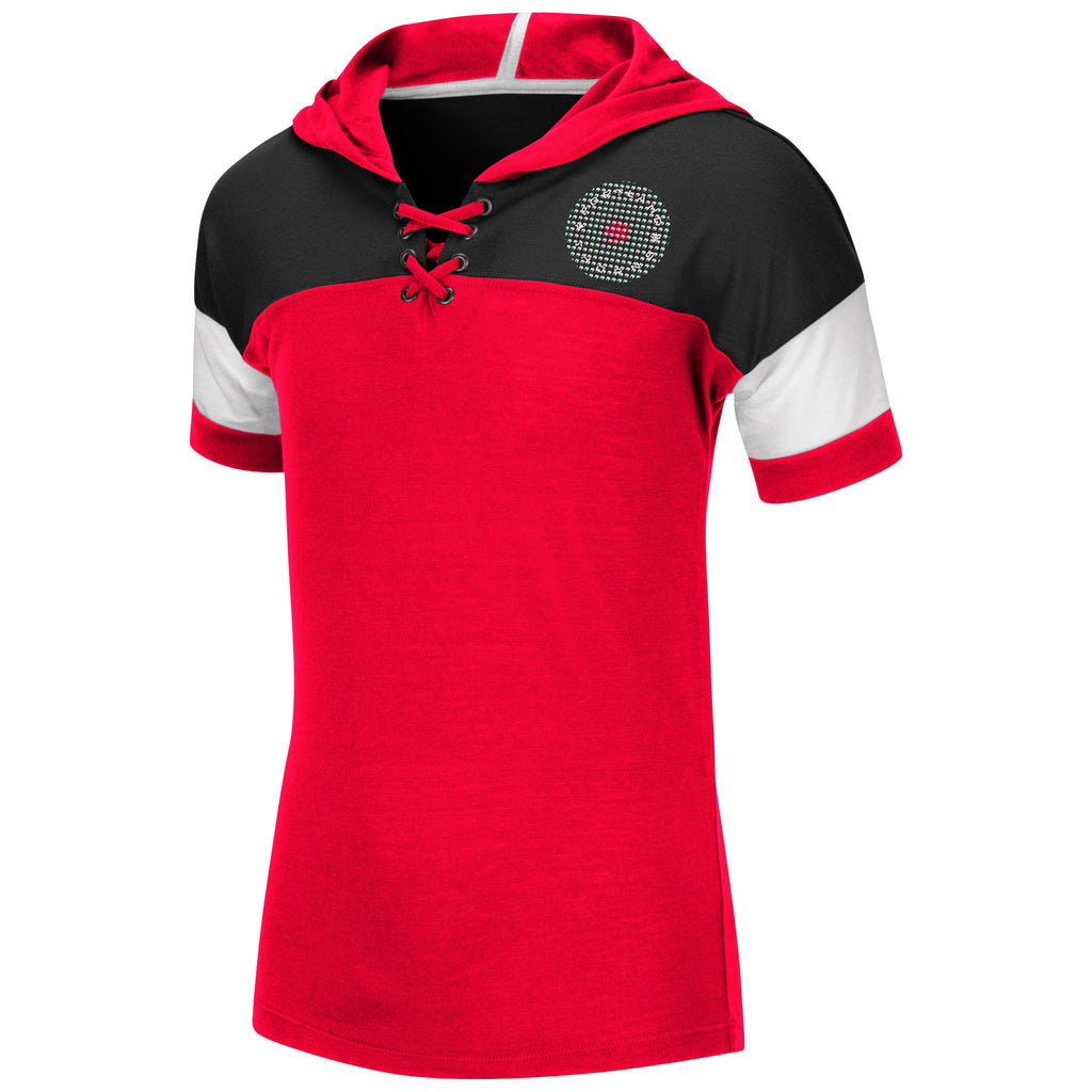 PORTLAND THORNS FC YOUTH GIRLS LACE UP SHORT SLEEVE TEE