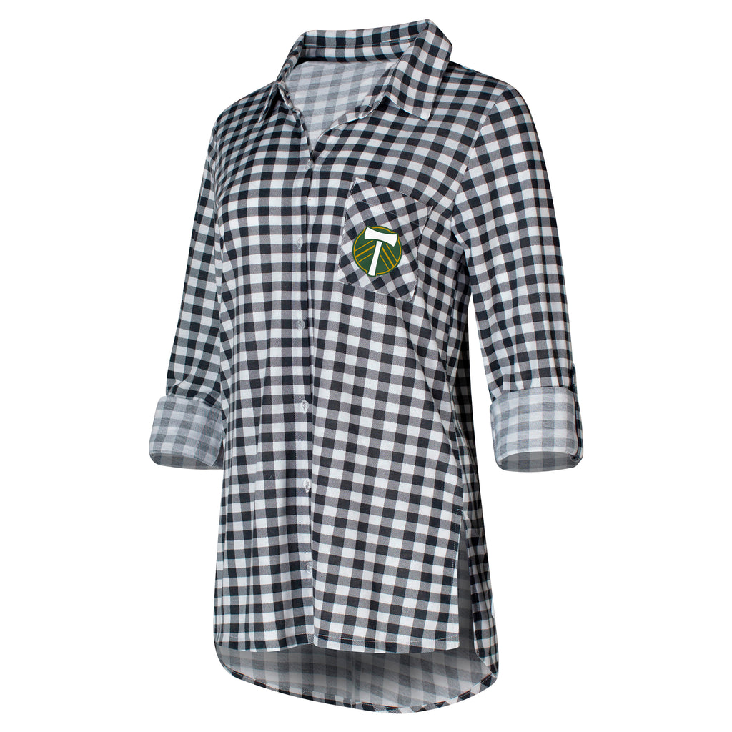PORTLAND TIMBERS FC WOMEN'S LONG SLEEVE PLAID BUTTON-UP SHIRT