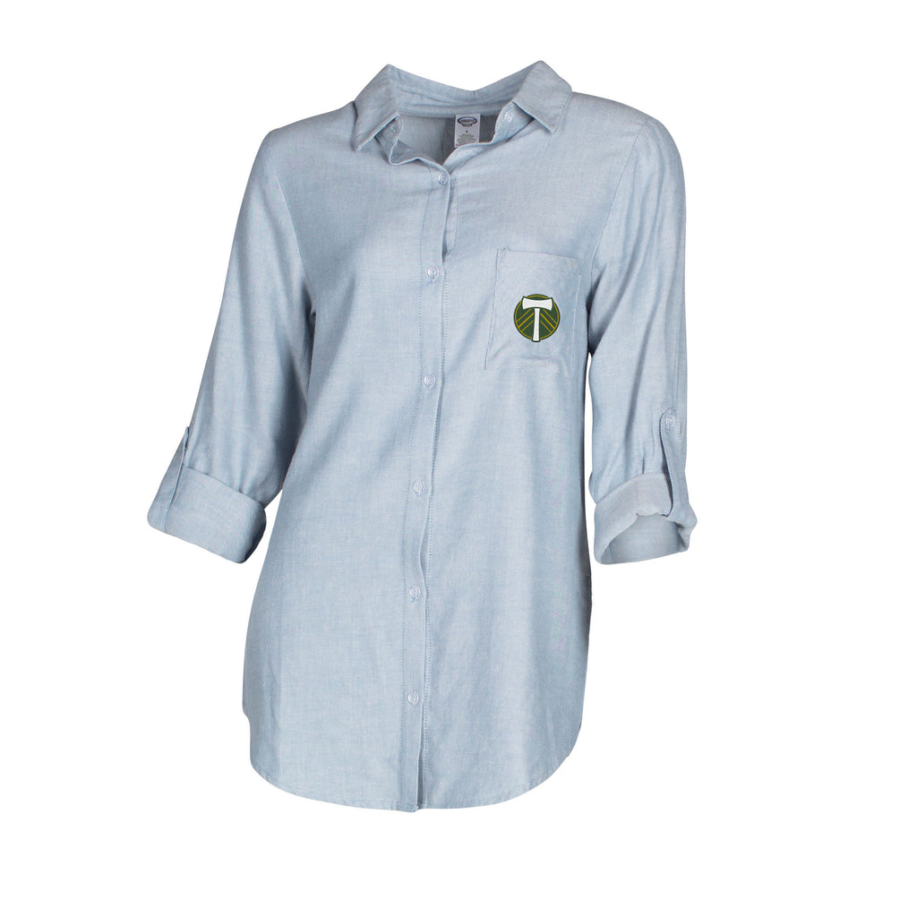PORTLAND TIMBERS FC WOMEN'S CHAMBRAY BUTTON UP