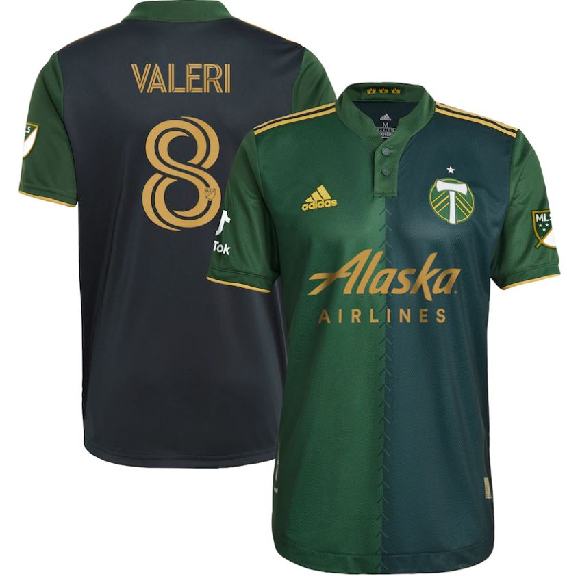 "PRE CUSTOMIZED ""VALERI #8"" PORTLAND TIMBERS FC 2021 MEN'S AUTHENTIC PRIMARY JERSEY"