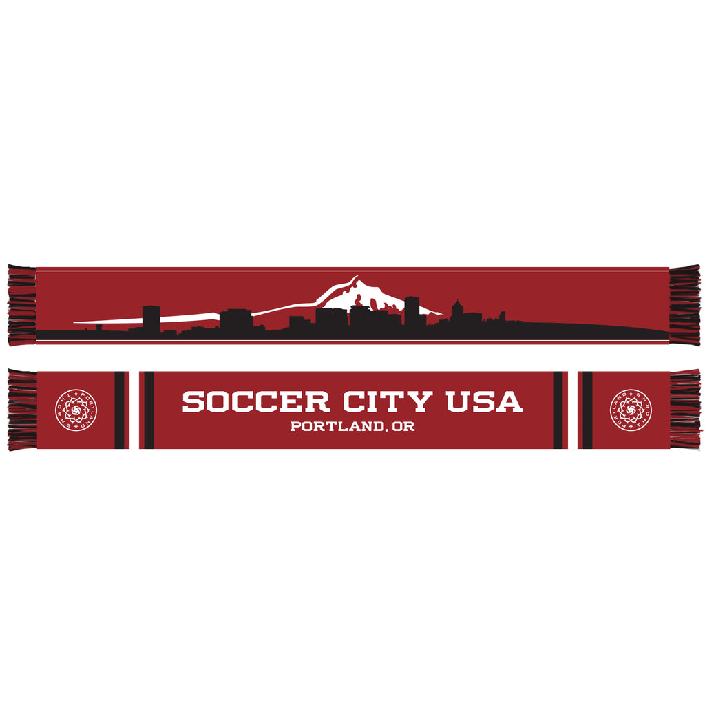 Portland Thorns FC Ruffneck Mt. Hood Cityscape Scarf - Red