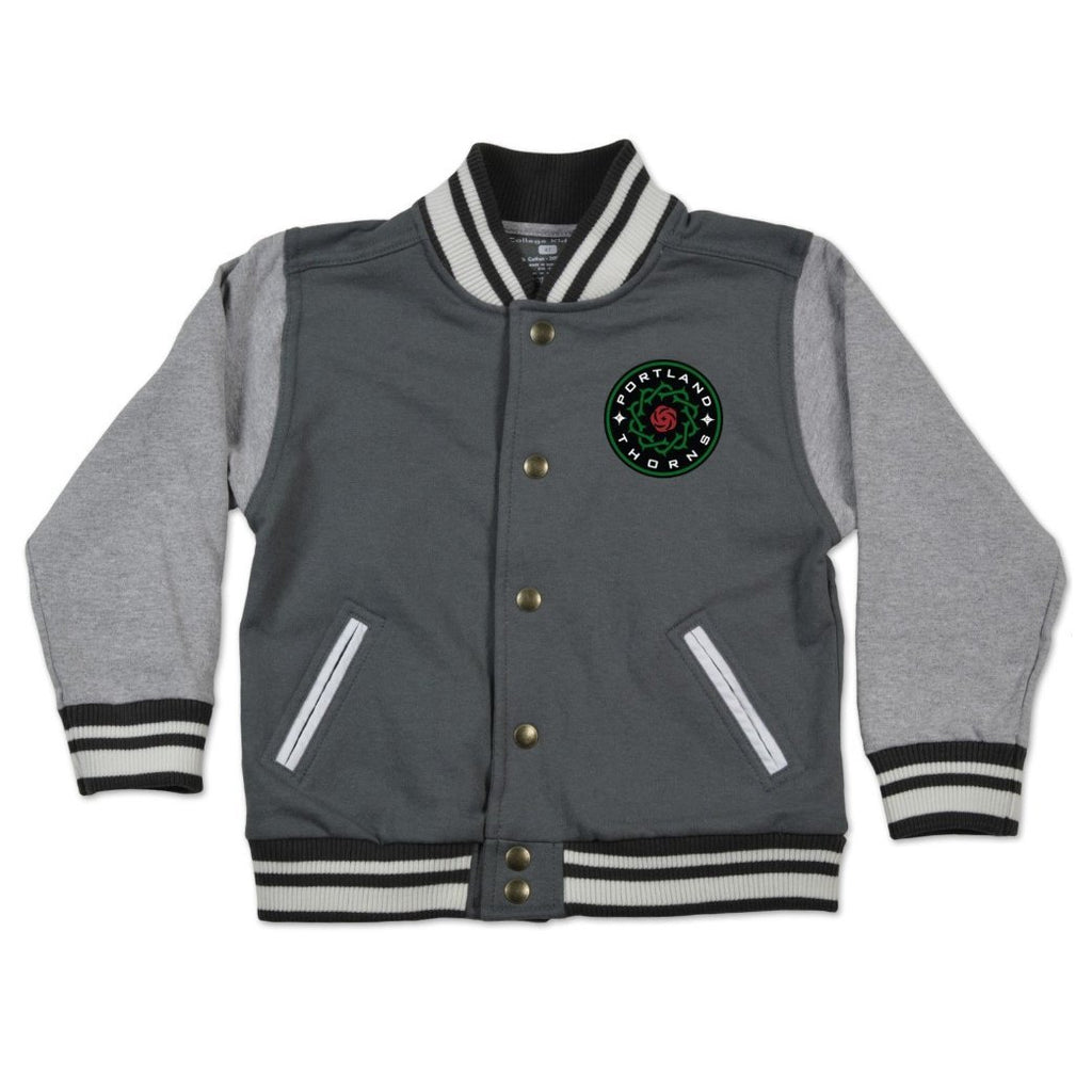 Portland Thorns FC Toddler Letterman Jacket - Grey - FINAL SALE
