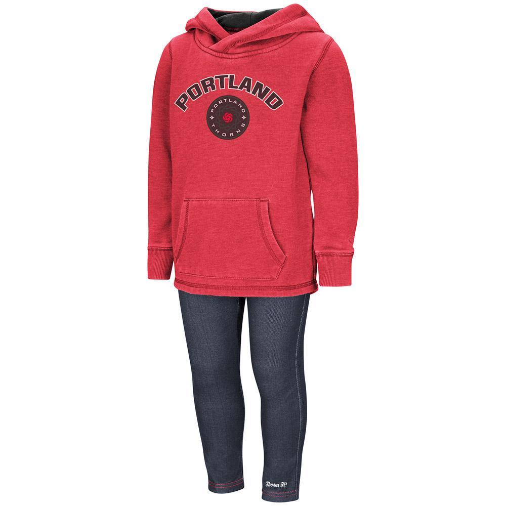 Portland Thorns FC Toddler Girls Hoody and Pant Set - Red/Denim