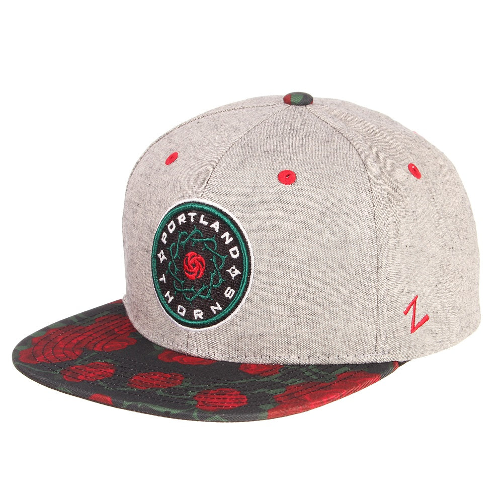 Portland Thorns FC Rose Print Flat Brim Snap Back Cap - Grey