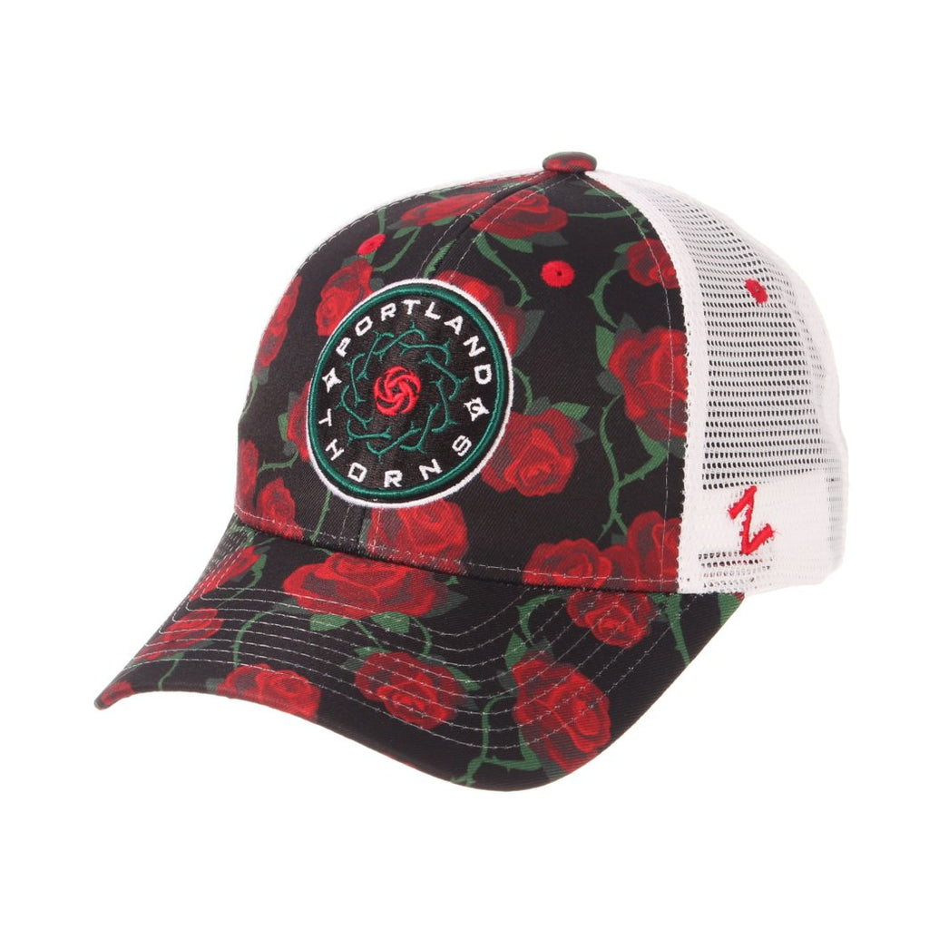 Portland Thorns FC Rose Print Adjustable Mesh Back Cap - White