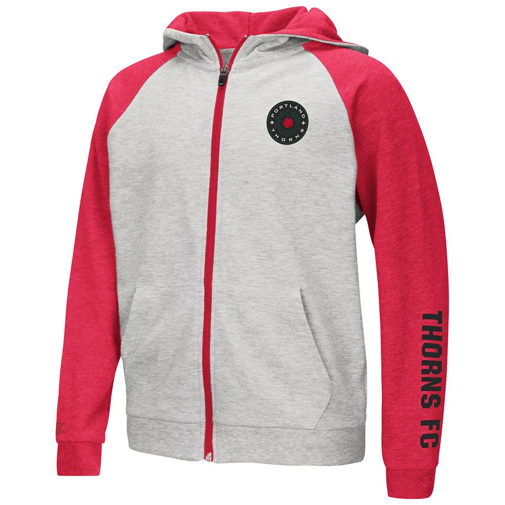 PORTLAND THORNS FC YOUTH LONG SLEEVE PARABOLIC FULL ZIP HOODIE