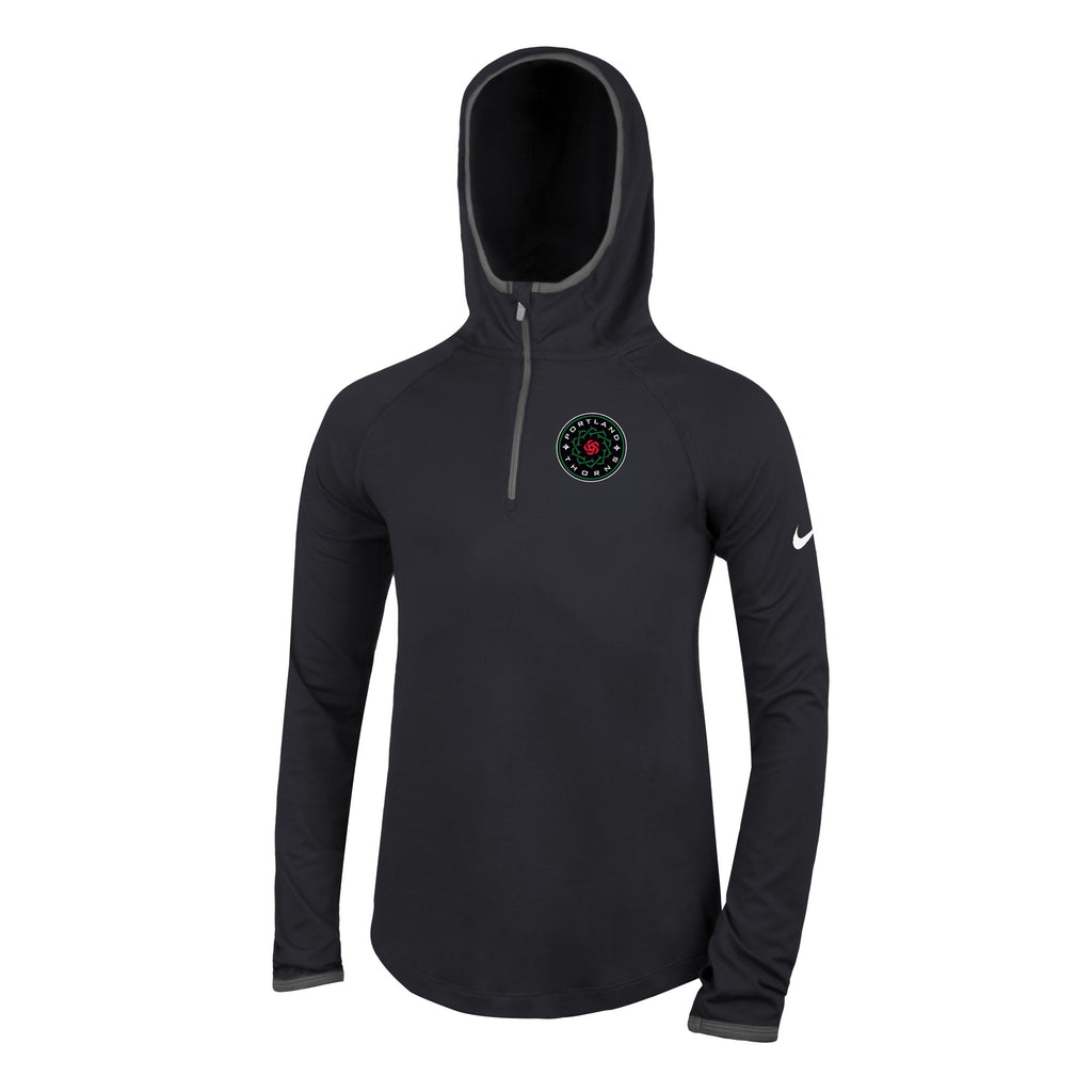 Portland Thorns FC Youth Girl's Element Lightweight 1/4 Zip Hoody - Black