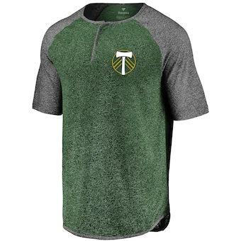 PORTLAND TIMBERS FC MEN'S SHORT SLEEVE BUTTON HENLEY
