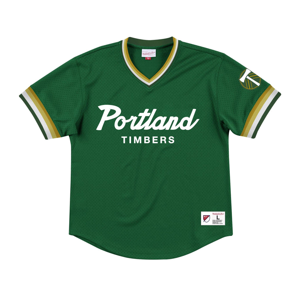 PORTLAND TIMBERS FC MEN'S SHORT SLEEVE SCRIPT MESH OLD SCHOOL JERSEY