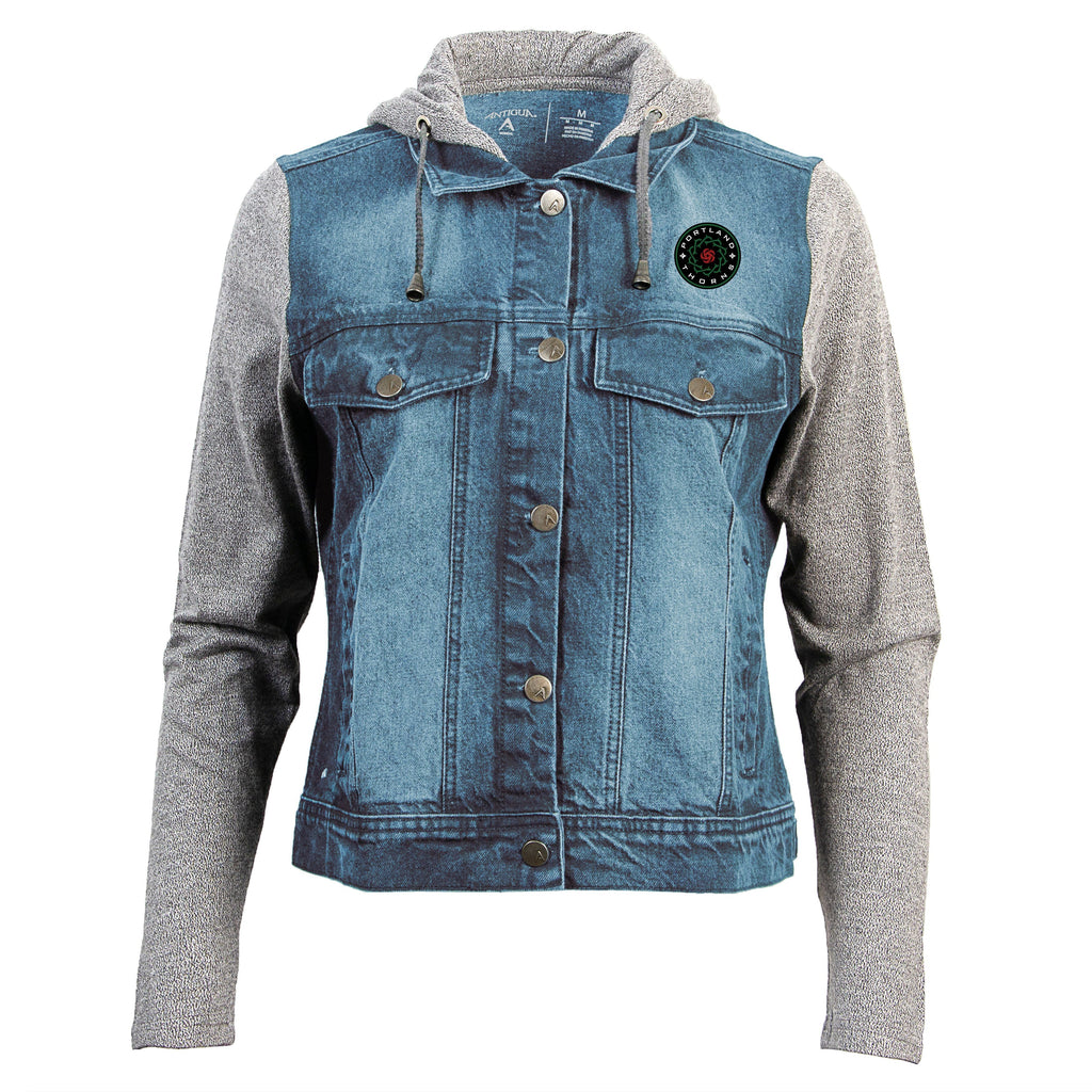 Portland Thorns FC Women's Jean Bomber Jacket - Grey