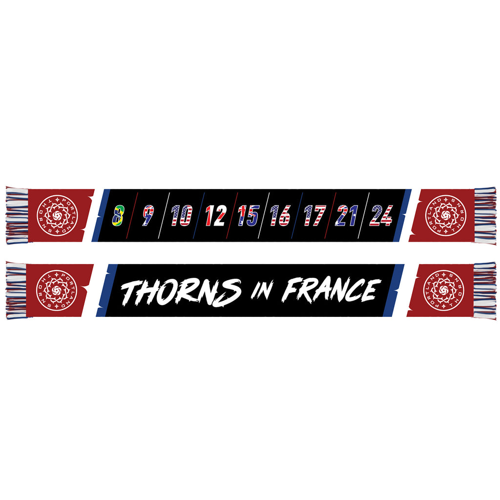 "Portland Thorns FC ""Thorns in France"" Scarf - Black"