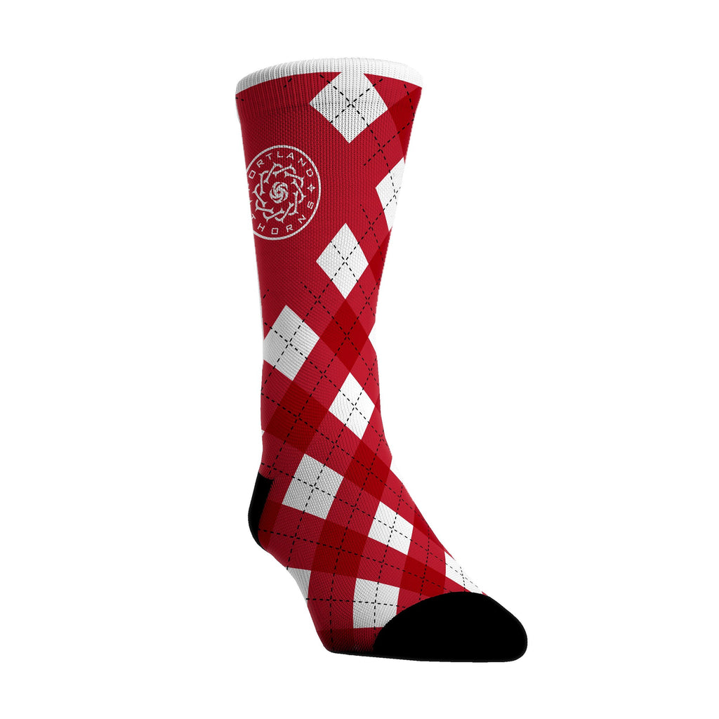 Portland Thorns FC Red Argyle Sock - Red