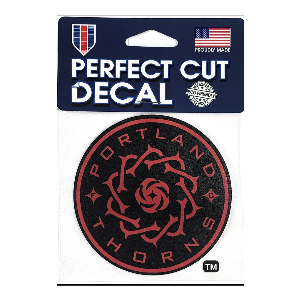 PORTLAND THORNS FC 4X4 DIE CUT DECAL - Black and Red