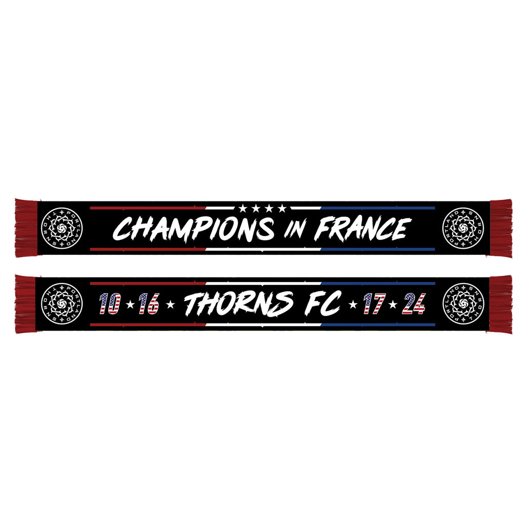 "Portland Thorns FC ""Champions in France"" Scarf - Black - PRE-ORDER, SHIPS JULY 29TH"