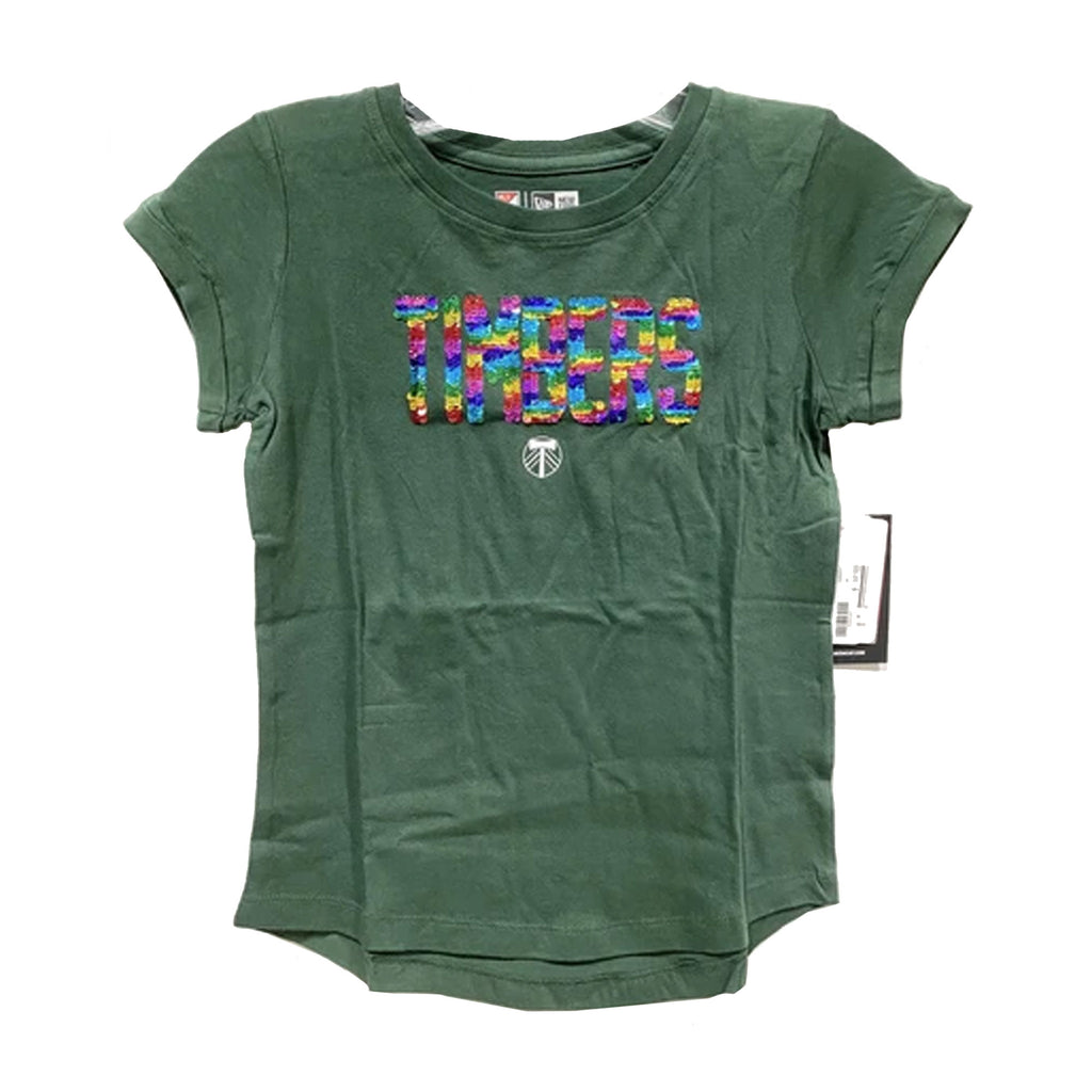 PORTLAND TIMBERS FC YOUTH GIRL'S RAINBOW SEQUIN SHORT SLEEVE TEE