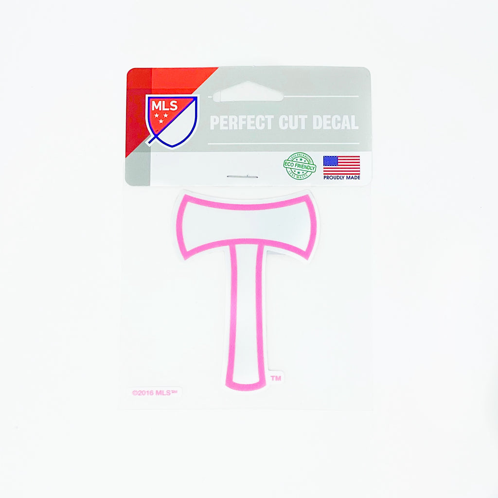 PORTLAND TIMBERS FC 4X4 PINK AXE DIE CUT DECAL