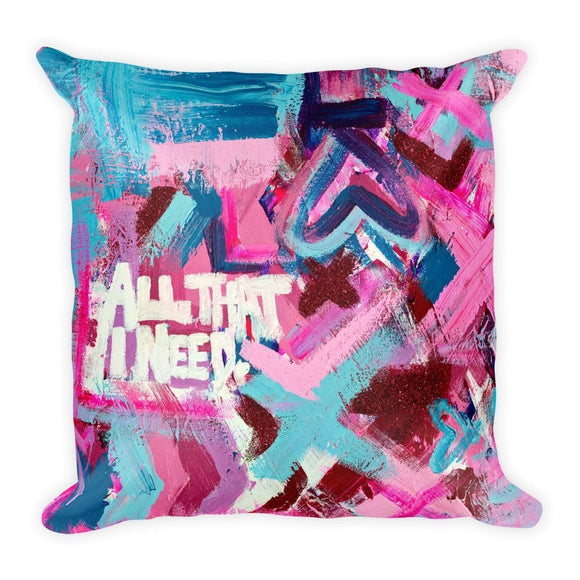 All That I Need. Square Pillow Abstract Deep